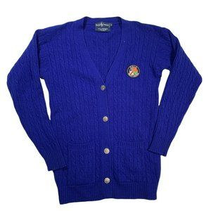 Ralph Lauren Sweater Vintage Small Polo Electric Blue Cable Knit Wool Cardigan
